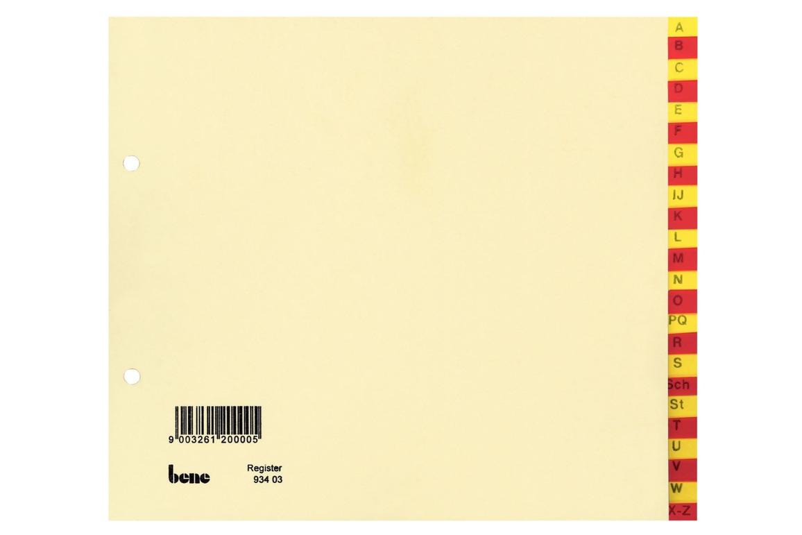 Register Bene A-Z 24-teilig rot - gelb, Art.-Nr. 093403 - Paterno Shop