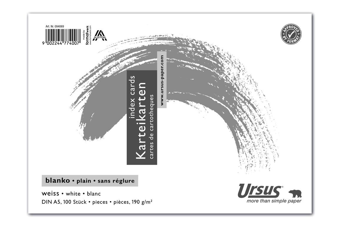 Karteikarte blanko weiss A5 quer 100 Blatt 190g/qm, Art.-Nr. 094069 - Paterno Shop