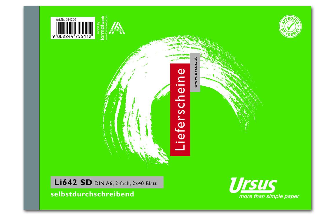 Lieferscheinbuch LI642SD A6 quer 2x40 Blatt, Art.-Nr. 094200 - Paterno Shop