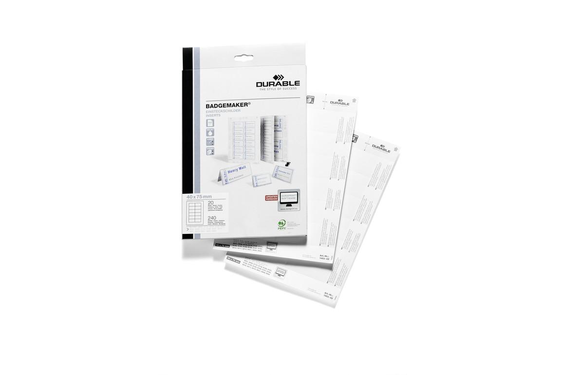 Badgemaker-Schild Durable 40X75 mm weiß, Art.-Nr. 145302 WEISS - Paterno Shop