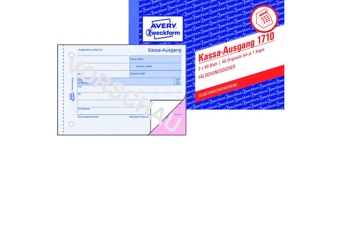 Kassaausgangsbuch ZWF , DIN A6 quer, Art.-Nr. 1710ZWF - Paterno Shop