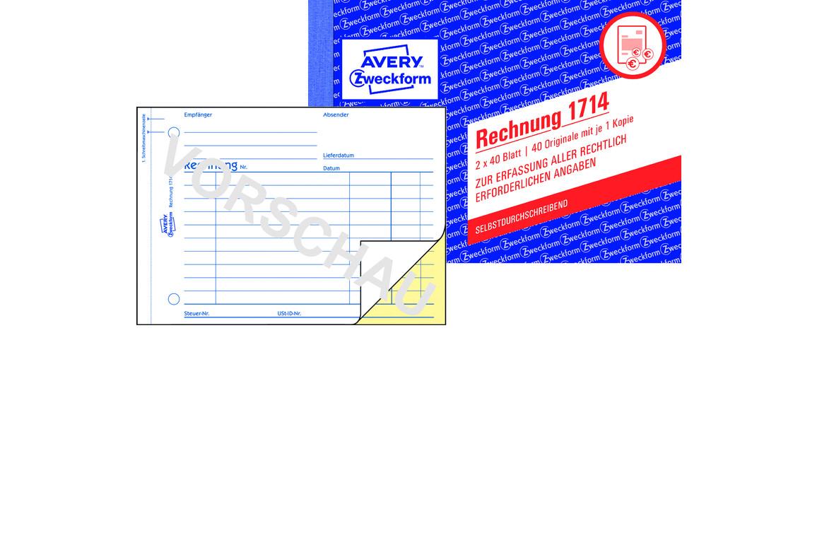Rechnungsbuch ZWF A6 2x40Bl, Art.-Nr. 1714ZWF - Paterno Shop