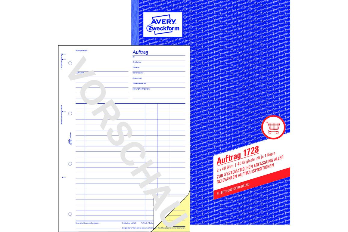 Auftragsbuch A4 2x40 Blt., Art.-Nr. 1728ZWF - Paterno Shop
