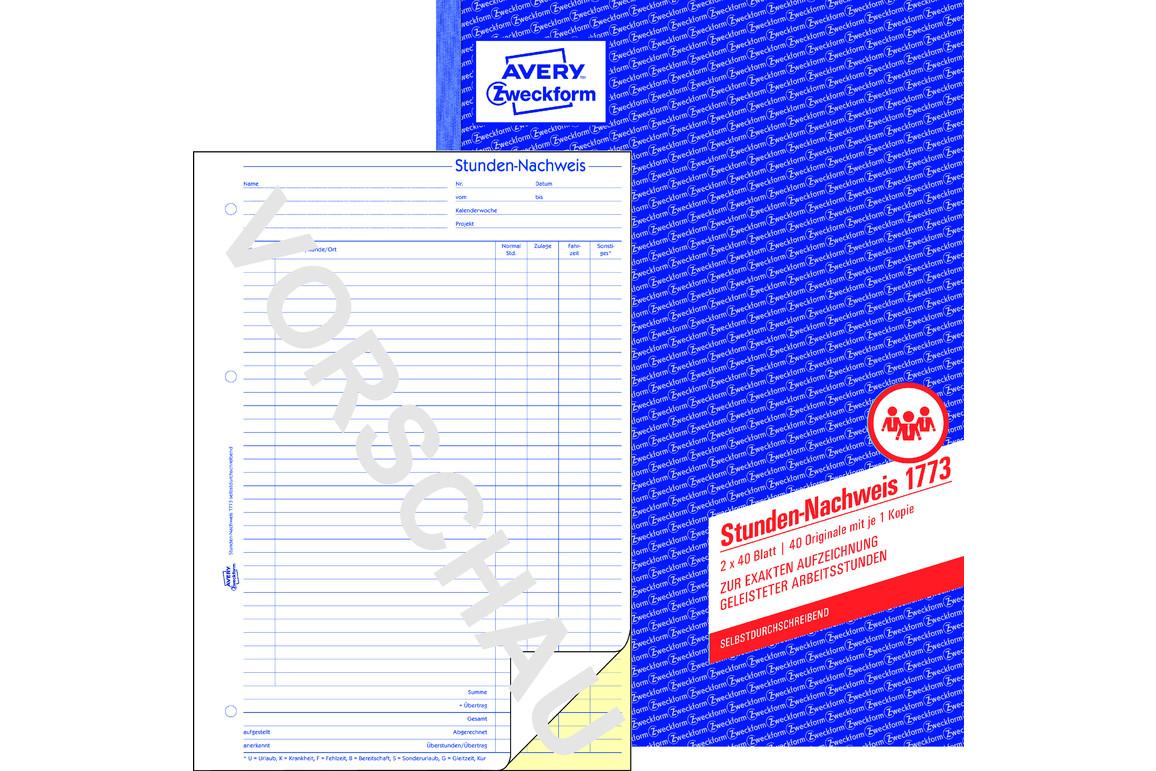 Stundennachweis ZWF, DIN A4, Art.-Nr. 1773ZWF - Paterno Shop