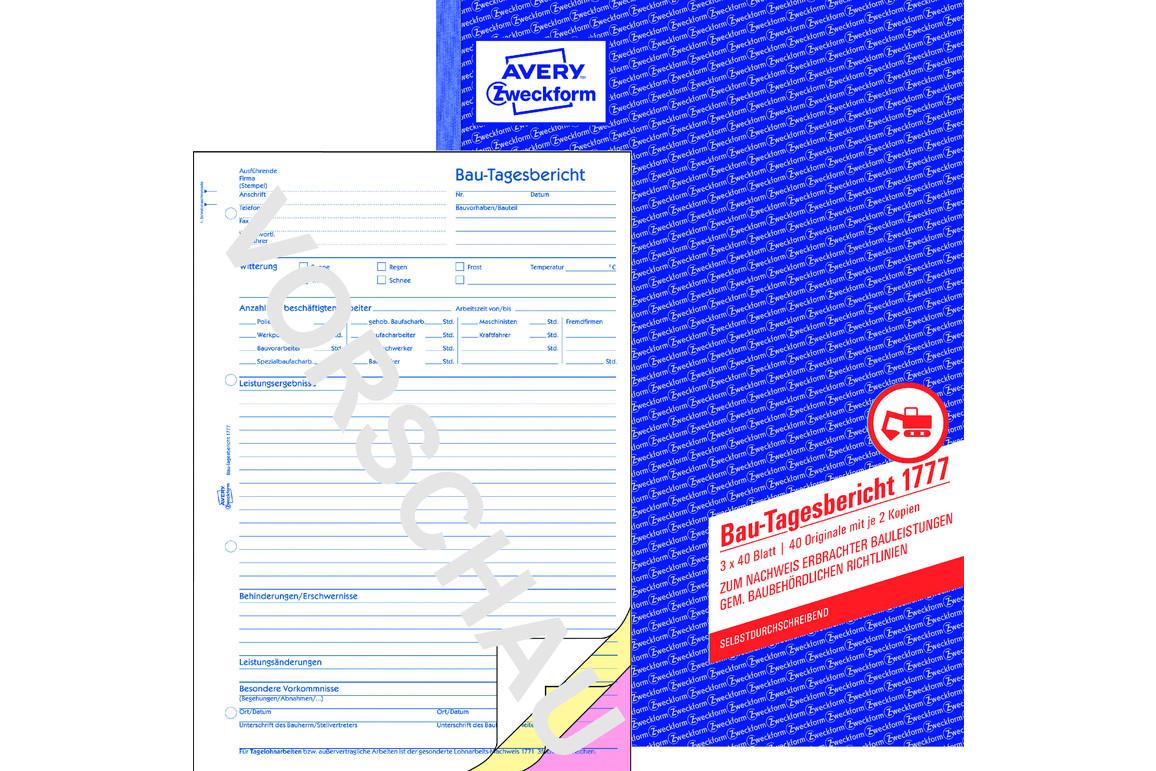 Bautagesbericht ZWF, DIN A4 hoch, Art.-Nr. 1777ZWF - Paterno Shop