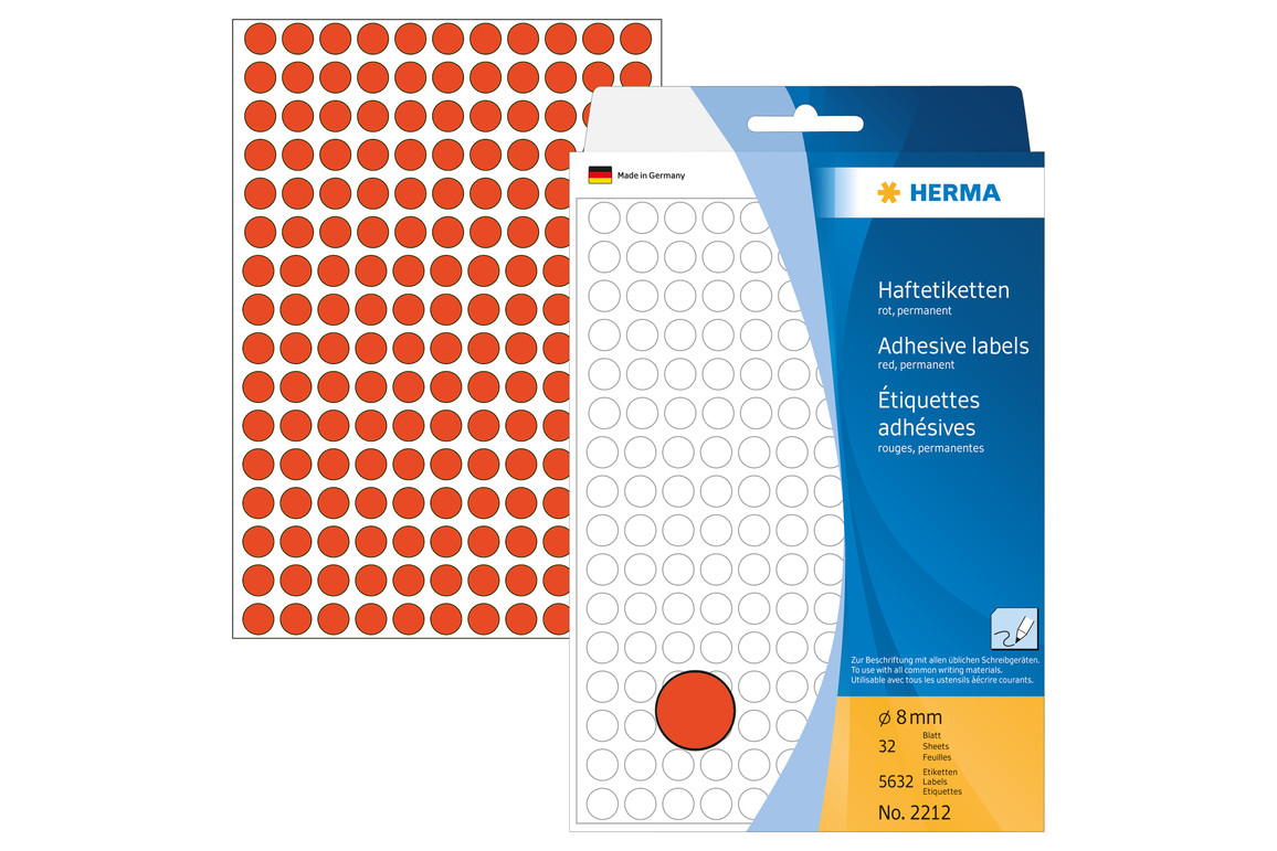 Markierungspunkte Herma 8 mm rot, Art.-Nr. 2212 - Paterno Shop