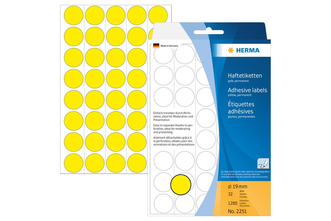 Markierungspunkte Herma 19 mm gelb, Art.-Nr. 2251E - Paterno Shop