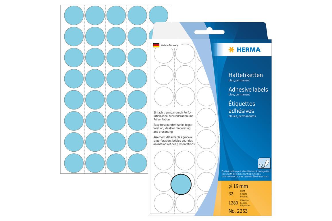 Markierungspunkte Herma 19 mm blau, Art.-Nr. 2253E - Paterno Shop