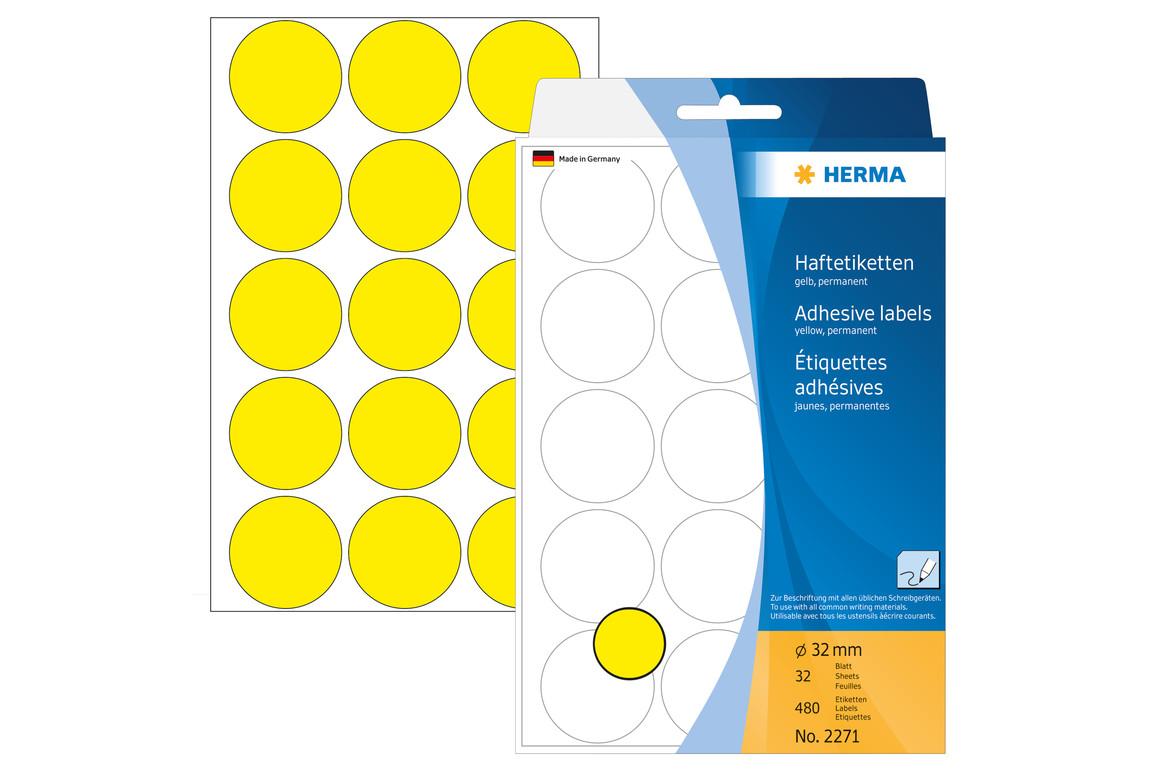 Markierungspunkte Herma 32 mm gelb, Art.-Nr. 2271E - Paterno Shop