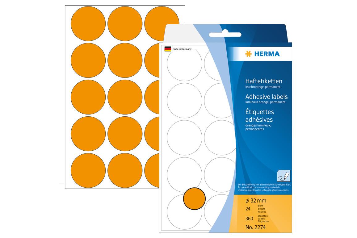 Markierungspunkte Herma 32 mm leuchtorange, Art.-Nr. 2274E - Paterno Shop