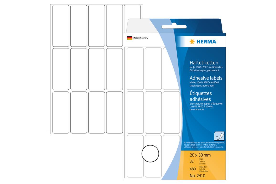 Etiketten Herma 20 x 50 mm weiss, Art.-Nr. 2410E - Paterno Shop