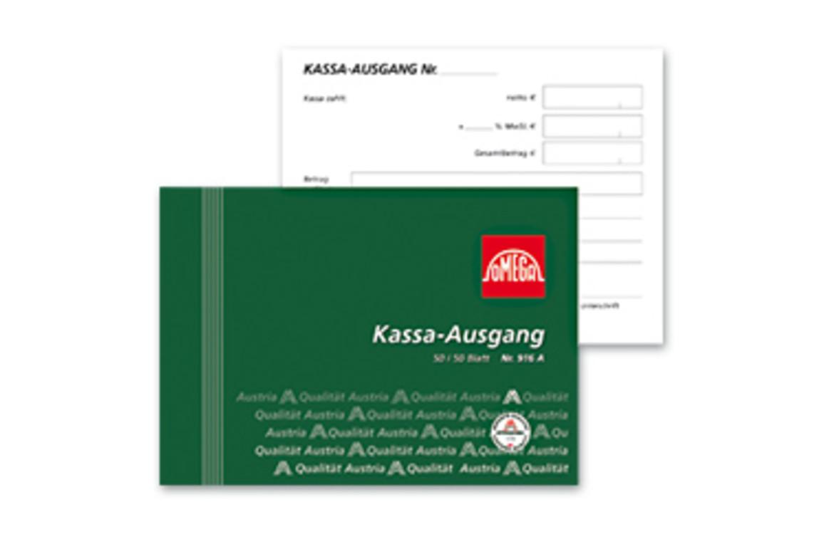 Kassaausgangsbuch Omega A6 quer 3x50 Blatt, Art.-Nr. 2916AOK - Paterno Shop
