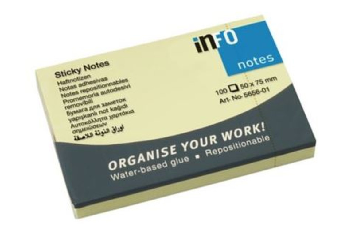Haftnotizen info notes 50x75 mm gelb, Art.-Nr. 05176 - Paterno Shop