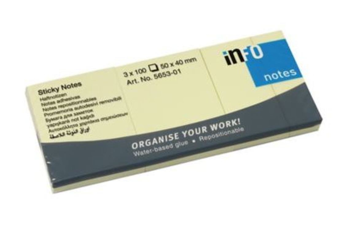 Haftnotizen info notes 50x40 mm gelb, Art.-Nr. 05138 - Paterno Shop