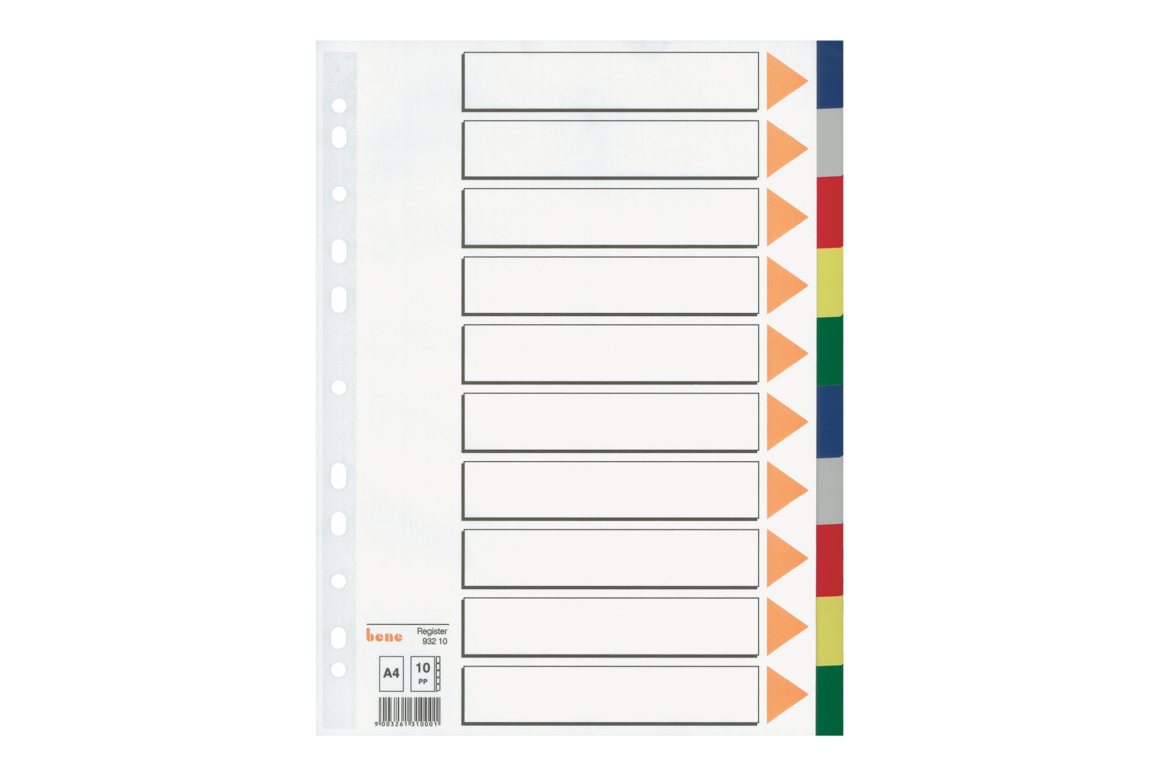 Farbregister Bene A4 blanko farbig 10-teilig, Art.-Nr. 093210 - Paterno Shop