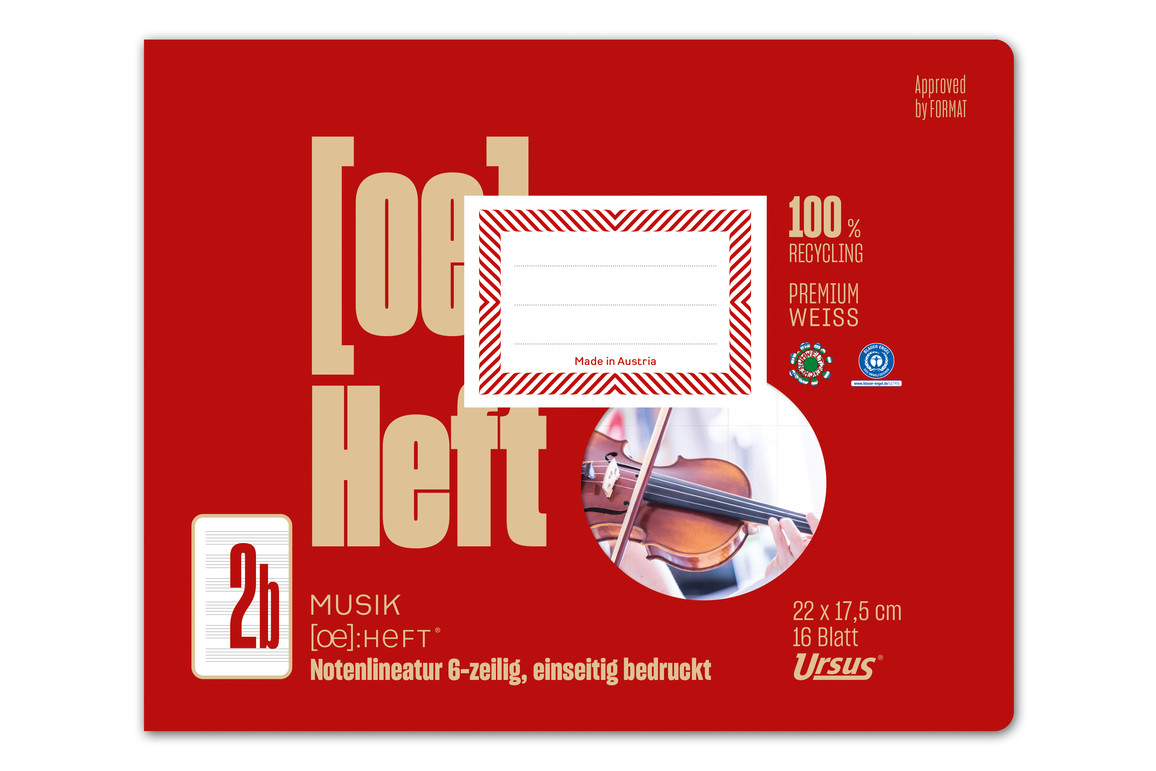 Notenheft Format X 16 Blatt rot, Art.-Nr. 076511 - Paterno Shop
